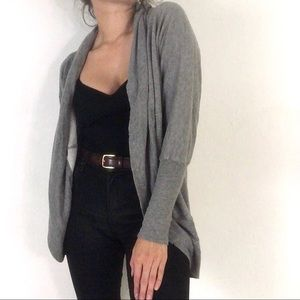 H by Bordeaux Heather Gray Cocoon Open Cardigan
